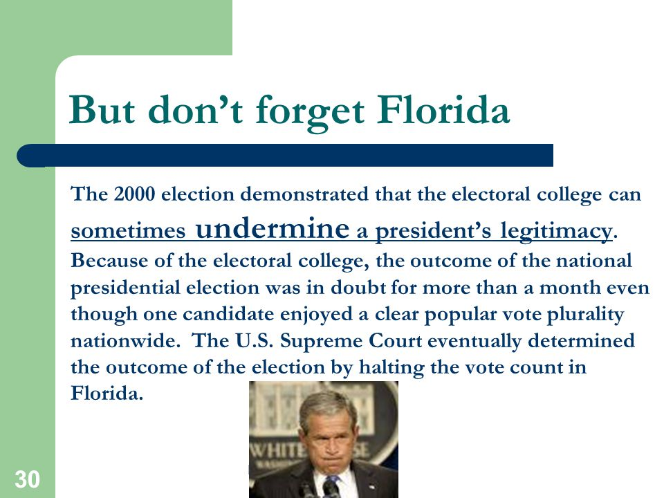 5/4/2015 29 Do we really need the Electoral College? The proponents of the electoral college believe that it conveys legitimacy to the winner in most