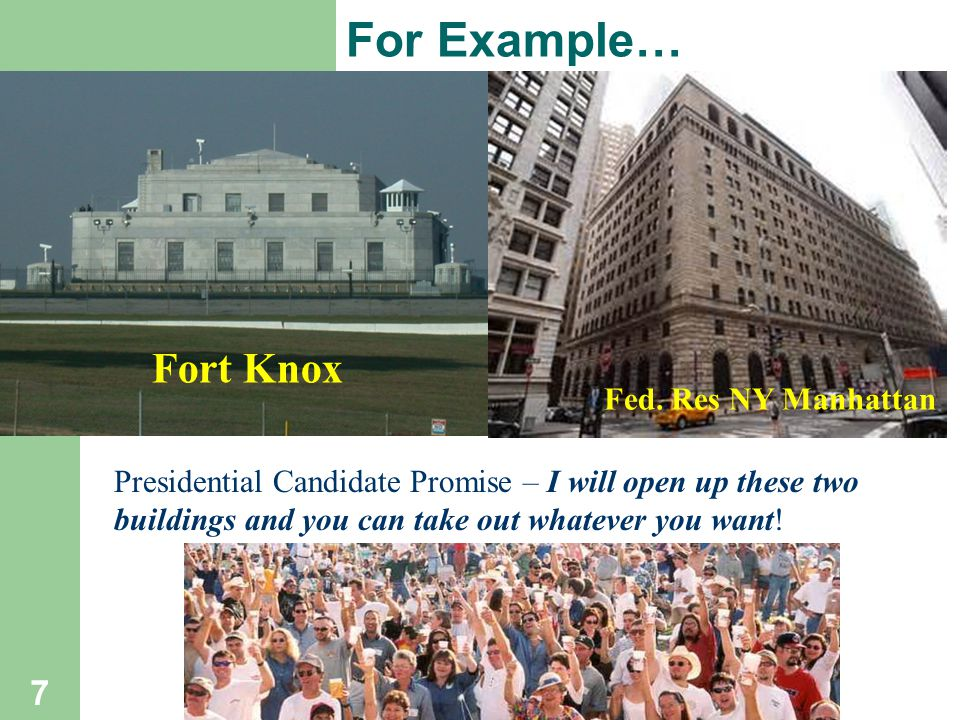 For Example… 7 Presidential Candidate Promise – I will open up these two buildings and you can take out whatever you want.