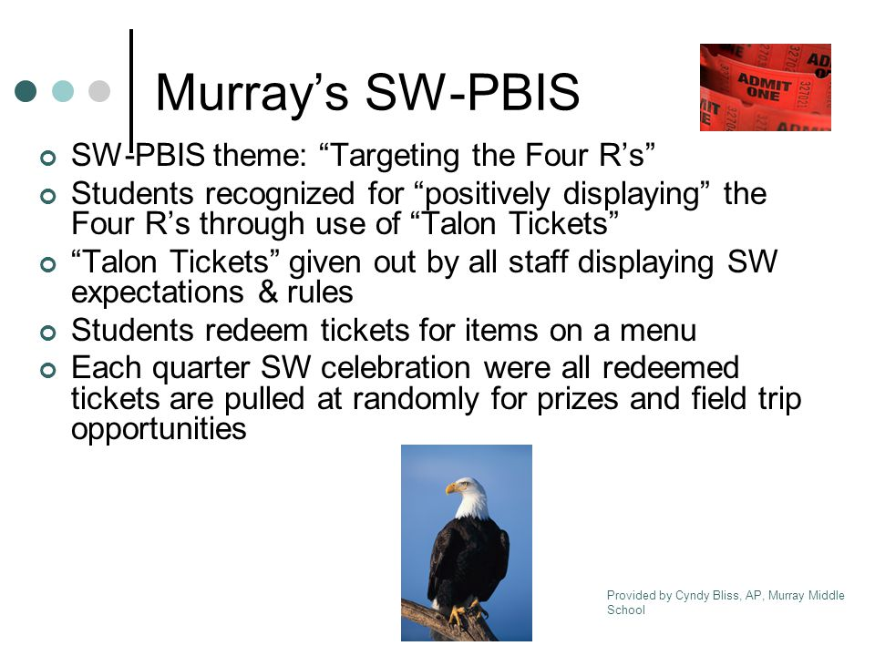 Media Center Pay off fines ($0.10 each) Cafeteria Pay off charges ($0.10 each) Slushies (10 tickets for 1 slushie) Murray Mart (School Store) Each ticket is worth $0.10 PBIS Store Merchandise as marked Classroom Team/teacher discretion Provided by Cyndy Bliss, AP, Murray Middle School Murray's Talon Tickets