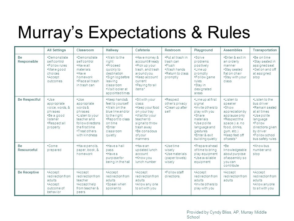 Murray's Expectations & Rules All SettingsClassroomHallwayCafeteriaRestroomPlaygroundAssembliesTransportation Be Responsible Demonstrate self control Follow rules Make good choices Accept outcomes Demonstrate self control Have all materials Have homework Place all trash in trash can Walk to the right Proceed quickly to destination Sign log before leaving classroom Visit locker at appointed times Have money & account # ready Pick up your trash, and trash around you Keep account current Paying for all items* Put all trash in trash can Flush Wash hands Return to class promptly Solve problems positively Line up promptly Follow game rules Stay in designated areas Enter & exit in an orderly manner Stay seated flat on chair Stay with your class Be on time Stay seated in assigned seat Get on and off at assigned stop Be RespectfulUse appropriate voice, words, & phrases Be a good listener Respect all property Use appropriate words & phrases Listen to your teacher and follow directions the first time Treat others with kindness Keep hands& feet to yourself Walk on the blue line and/or to the right Report to class on time Enter classroom quietly Sit with your class Keep your food on your tray Wait for your teacher to signal to throw trash away Be conscious of your manners Respect other's privacy Clean up after self Line up at first signal Invite others to play with you Share materials Use polite language and gestures Enter & exit building quietly Listen to speaker Show appreciation by applause only Respect the space (i.e.