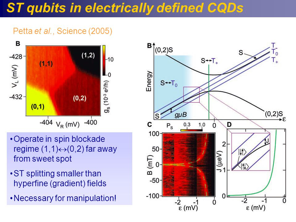 ST qubits in electrically defined CQDs Operate in spin blockade regime (1,1)  (0,2) far away from sweet spot ST splitting smaller than hyperfine (gradient) fields Necessary for manipulation.