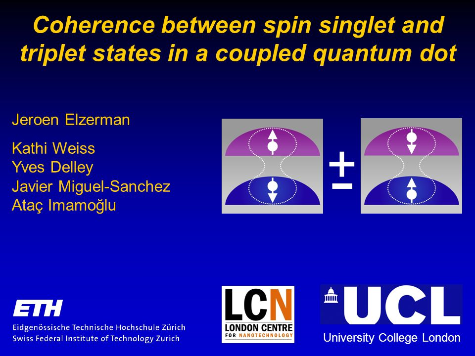 Coherence between spin singlet and triplet states in a coupled quantum dot Jeroen Elzerman Kathi Weiss Yves Delley Javier Miguel-Sanchez Ataç Imamoğlu University College London +