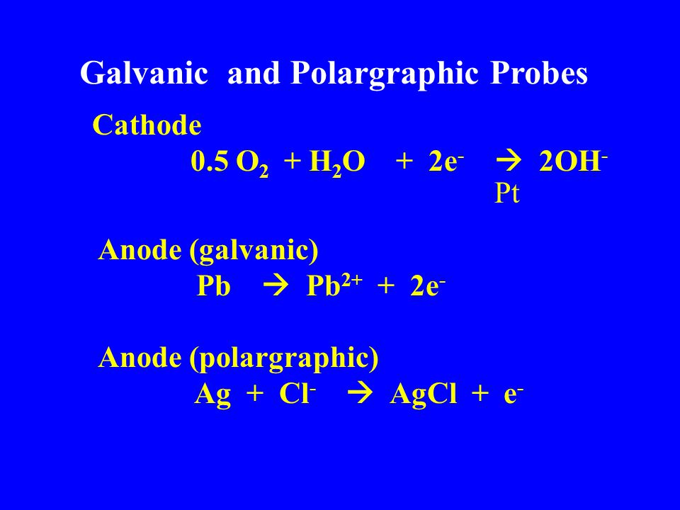 Galvanic and Polargraphic Probes Cathode 0.5 O 2 + H 2 O + 2e -  2OH - Pt Anode (galvanic) Pb  Pb 2+ + 2e - Anode (polargraphic) Ag + Cl -  AgCl + e -