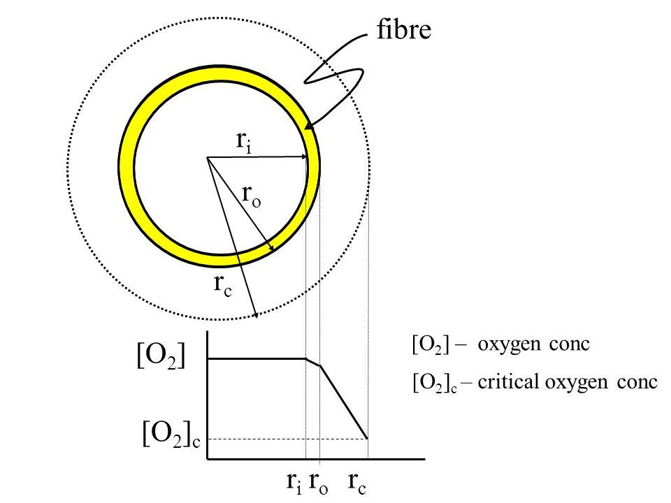 riri roro rcrc [O 2 ] [O 2 ] c riri roro rcrc fibre [O 2 ] – oxygen conc [O 2 ] c – critical oxygen conc