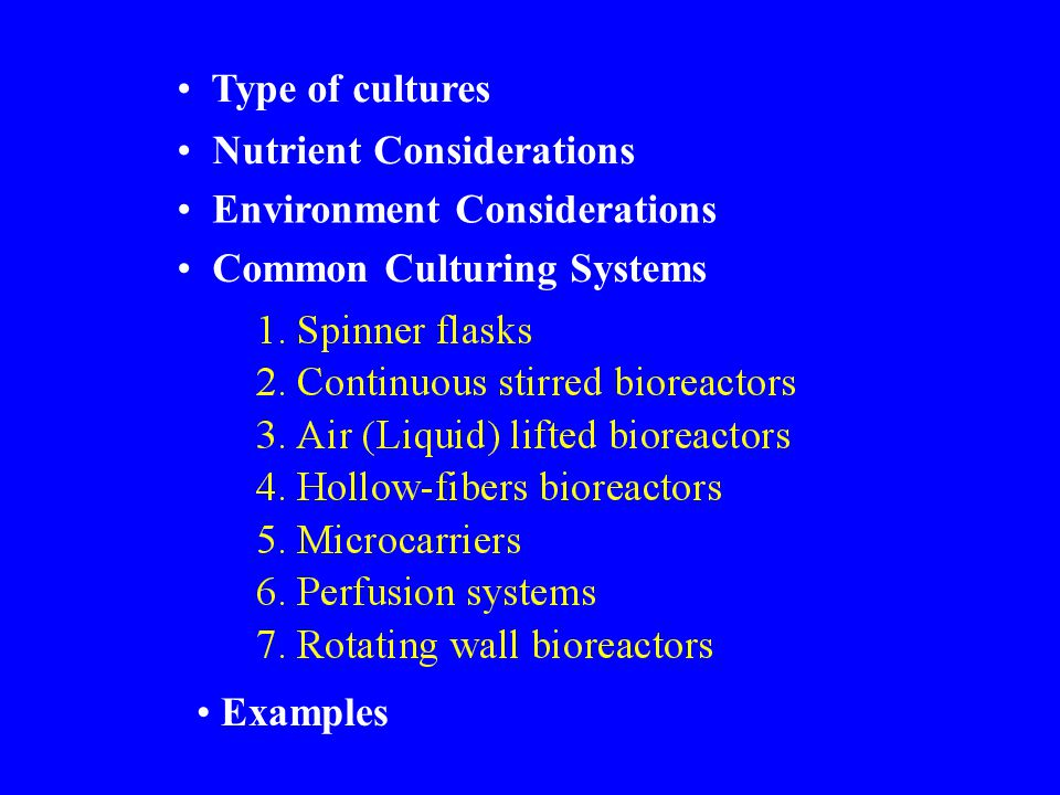 Suspension cultures Anchorage dependent cultures monolayer