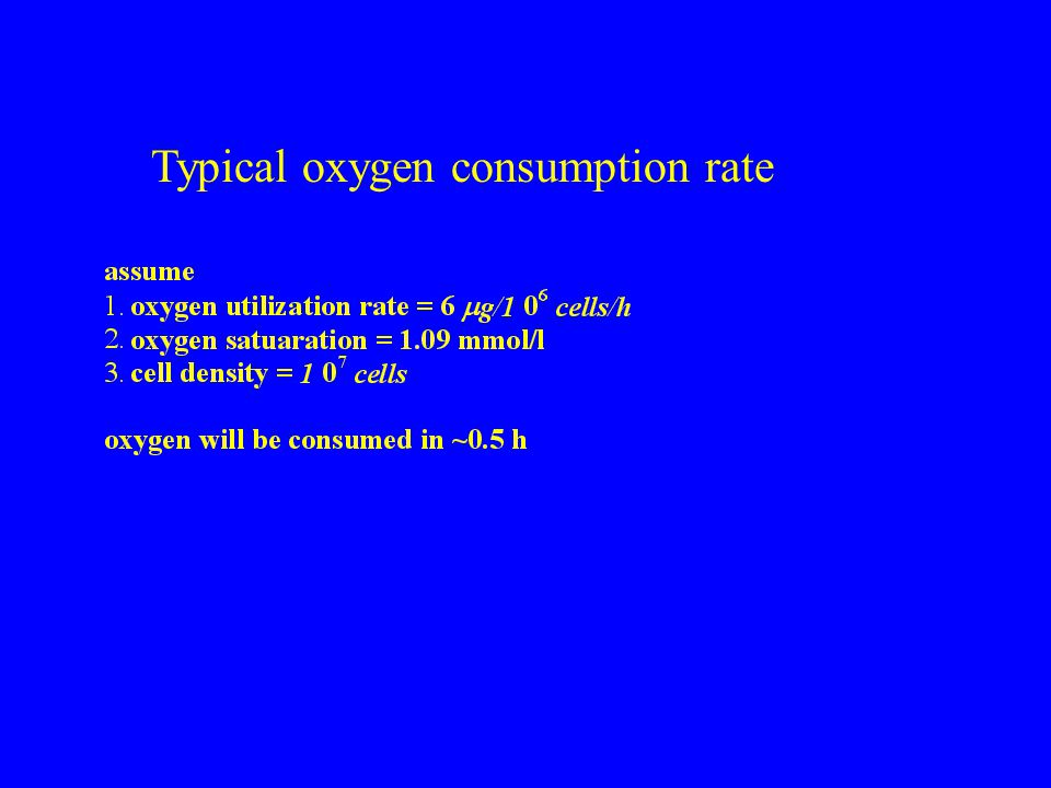 Typical oxygen consumption rate