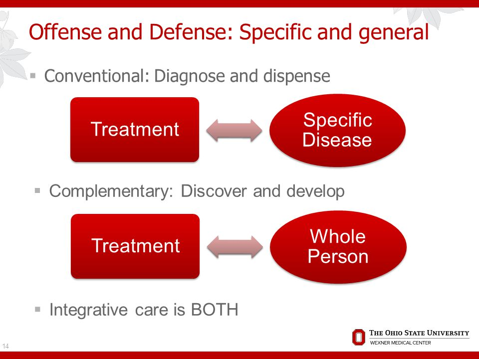 Offense and Defense: Specific and general 14 Treatment Specific Disease Treatment Whole Person  Conventional: Diagnose and dispense  Complementary: Discover and develop  Integrative care is BOTH