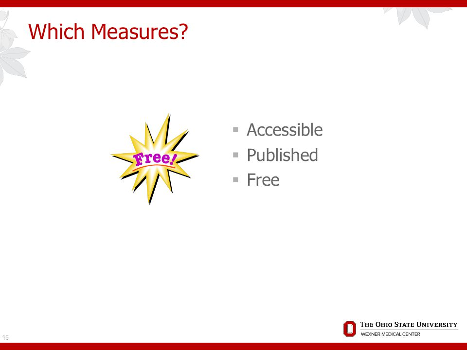 Which Measures?  Accessible  Published  Free 16