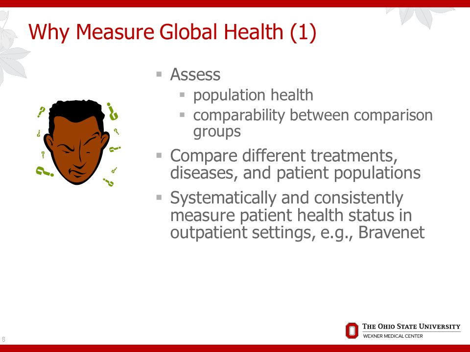Why Measure Global Health(2)  Complement disease-specific outcome  Clinical endpoint in an economic study  Risk adjustment  Measure for professional profiling  Global interventions: global outcomes Kane, R.L.