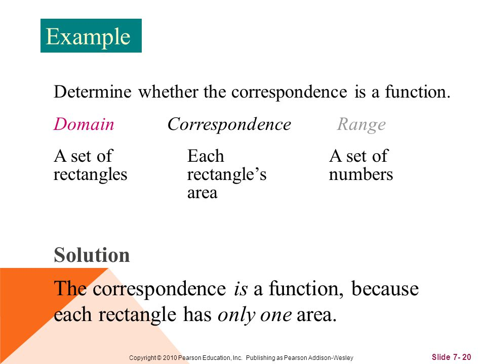 Slide 7- 20 Copyright © 2010 Pearson Education, Inc. Publishing as Pearson Addison-Wesley Determine whether the correspondence is a function. A set of