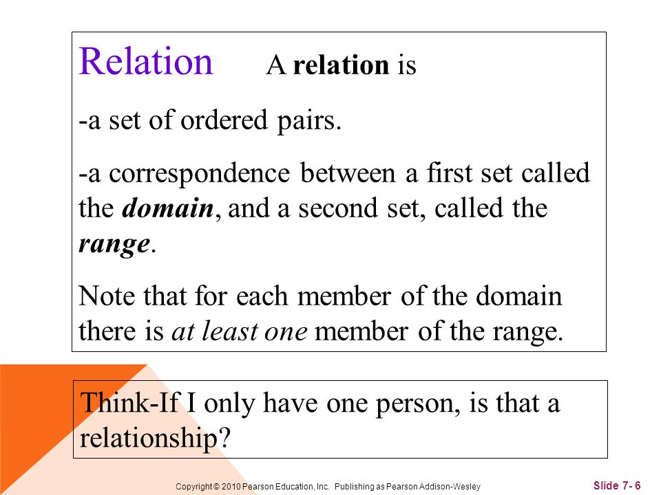 Slide 7- 6 Copyright © 2010 Pearson Education, Inc. Publishing as Pearson Addison-Wesley Relation A relation is -a set of ordered pairs. -a correspond