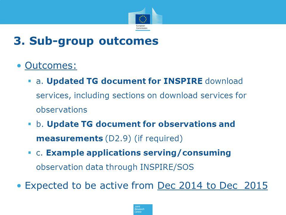 3. Sub-group outcomes Outcomes:  a.