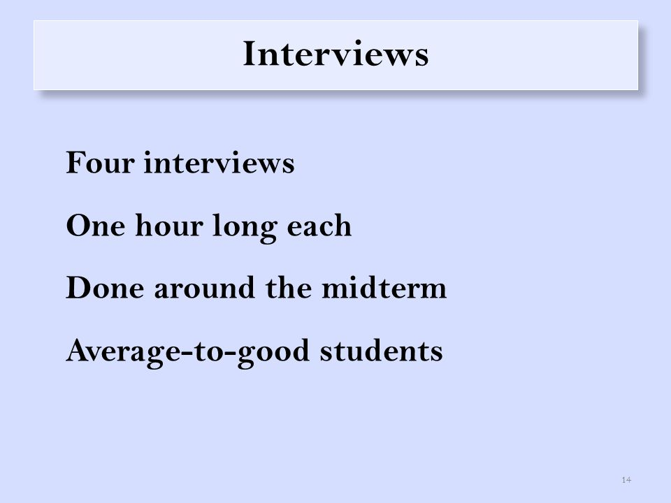Interviews Four interviews One hour long each Done around the midterm Average-to-good students 14