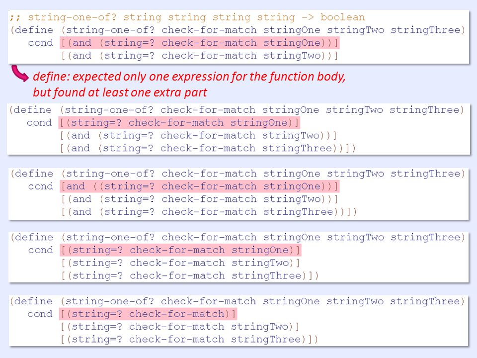 define: expected only one expression for the function body, but found at least one extra part