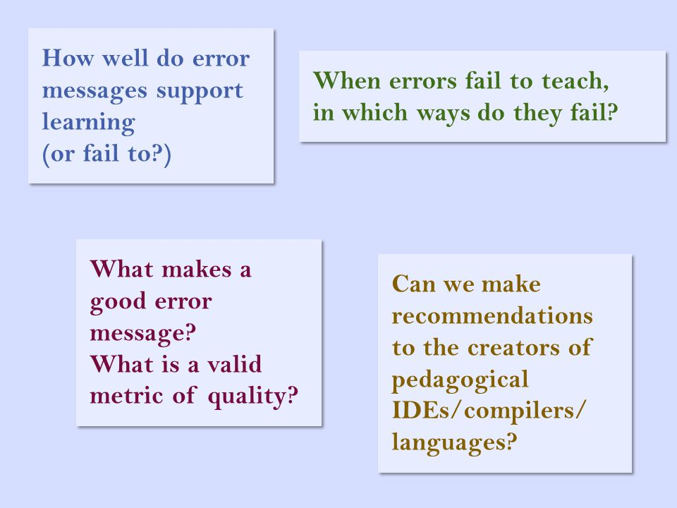 How well do error messages support learning (or fail to?) When errors fail to teach, in which ways do they fail? What makes a good error message? What