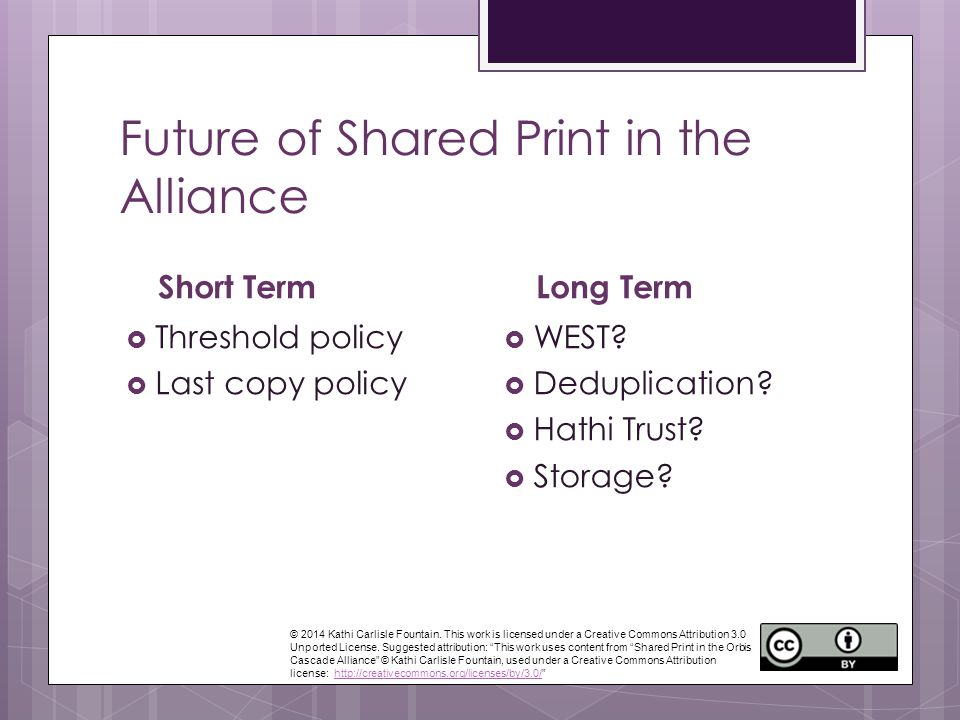 Future of Shared Print in the Alliance Short Term  Threshold policy  Last copy policy Long Term  WEST.
