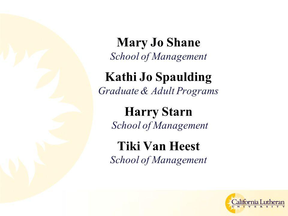 Mary Jo Shane School of Management Kathi Jo Spaulding Graduate & Adult Programs Harry Starn School of Management Tiki Van Heest School of Management