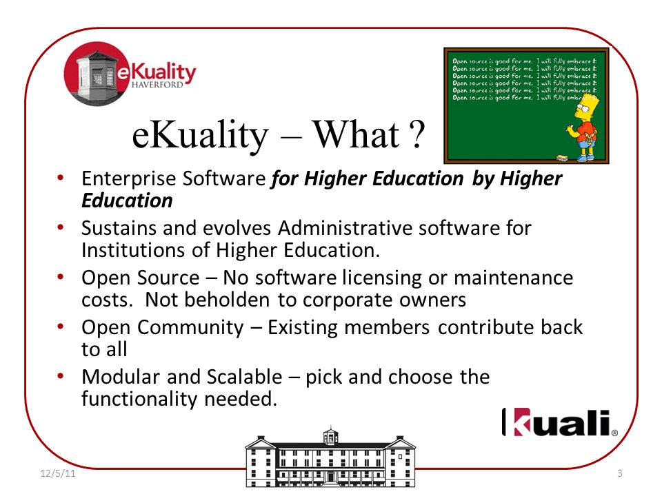 Enterprise Software for Higher Education by Higher Education Sustains and evolves Administrative software for Institutions of Higher Education.