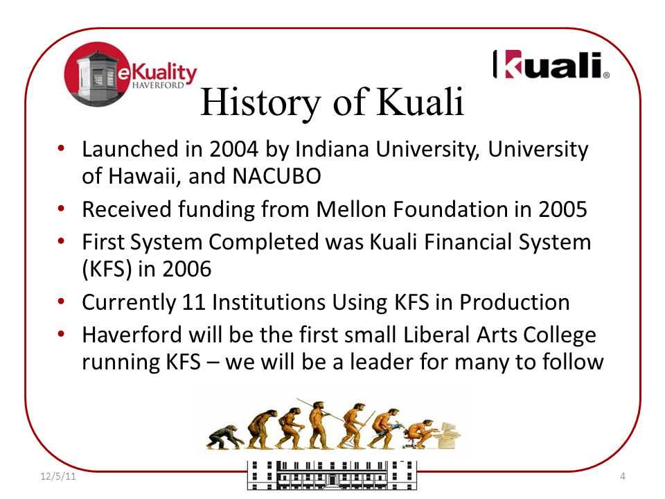 Launched in 2004 by Indiana University, University of Hawaii, and NACUBO Received funding from Mellon Foundation in 2005 First System Completed was Kuali Financial System (KFS) in 2006 Currently 11 Institutions Using KFS in Production Haverford will be the first small Liberal Arts College running KFS – we will be a leader for many to follow History of Kuali 12/5/114