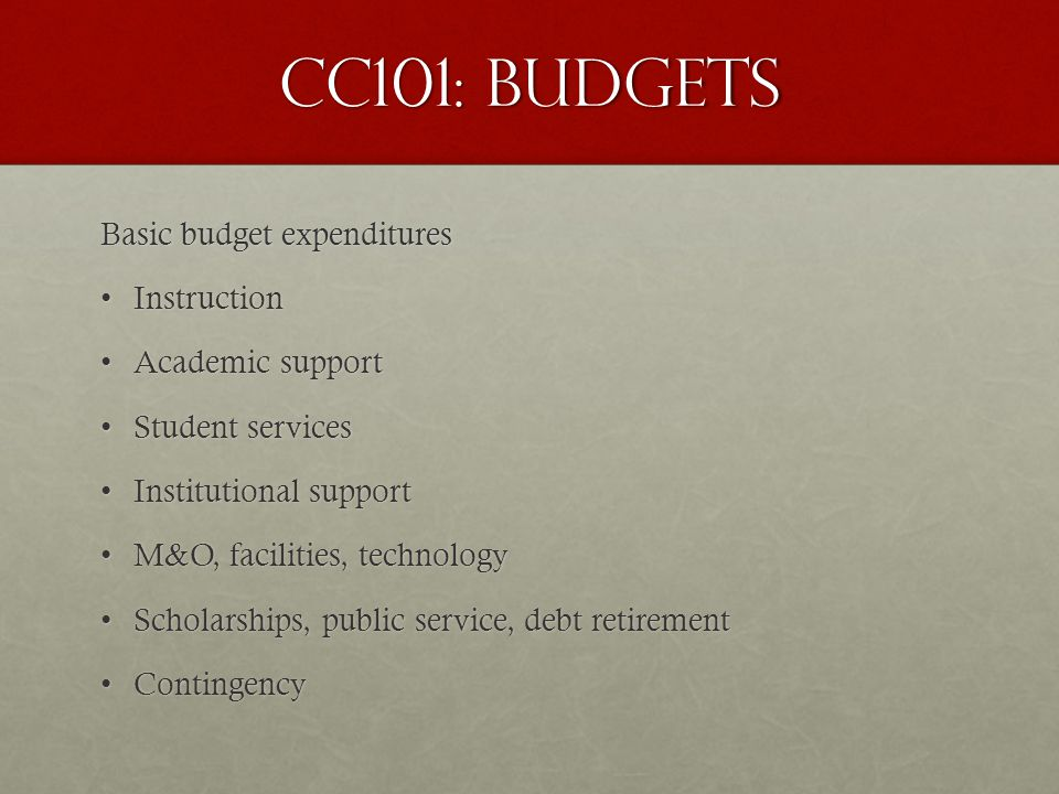 CC101: Budgets Basic budget expenditures InstructionInstruction Academic supportAcademic support Student servicesStudent services Institutional supportInstitutional support M&O, facilities, technologyM&O, facilities, technology Scholarships, public service, debt retirementScholarships, public service, debt retirement ContingencyContingency