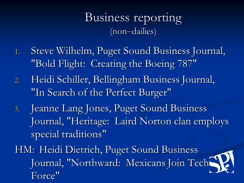 Business reporting (non – dailies) 1.