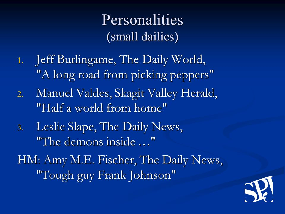 Personalities (small dailies) 1.