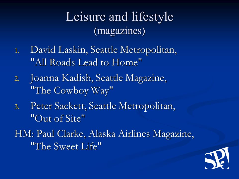 Leisure and lifestyle (magazines) 1.