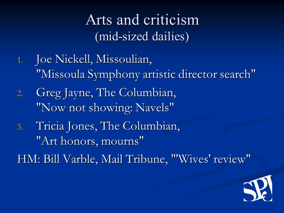 Arts and criticism (mid-sized dailies) 1.