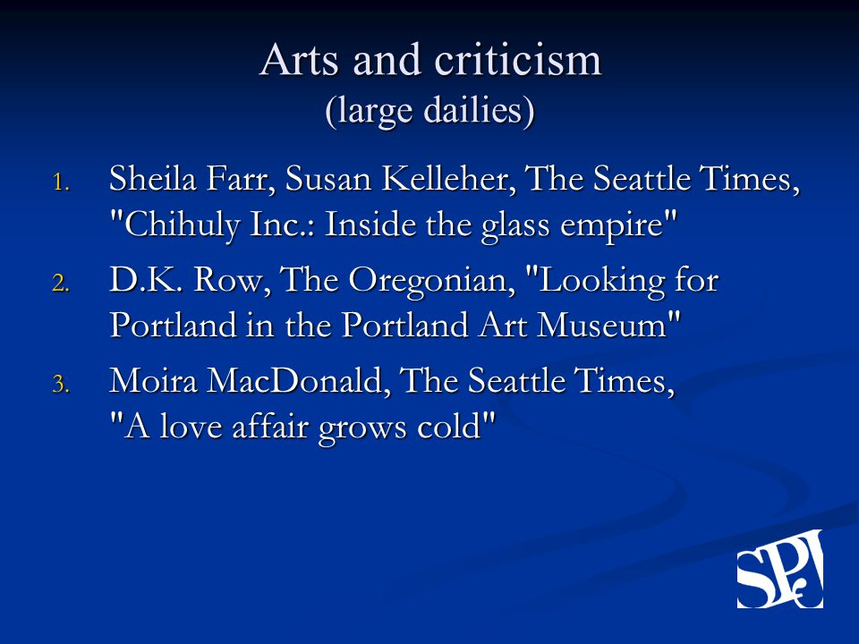Arts and criticism (large dailies) 1.