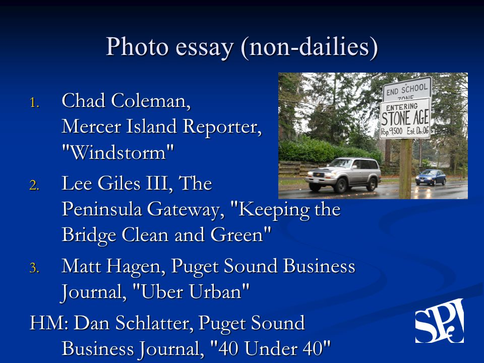 Photo essay (non-dailies) 1.Chad Coleman, Mercer Island Reporter, Windstorm 2.