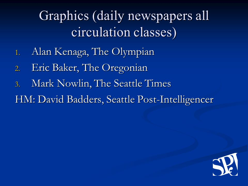 Graphics (daily newspapers all circulation classes) 1.