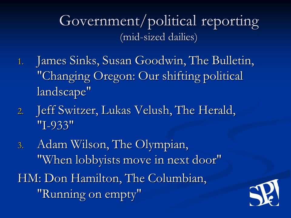 Government/political reporting (mid-sized dailies) 1.