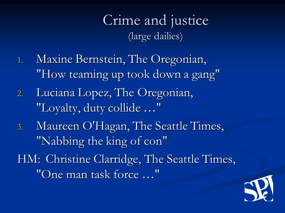 Crime and justice (large dailies) 1.