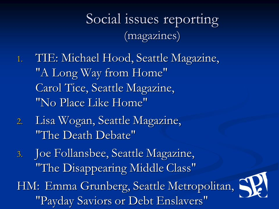 Social issues reporting (magazines) 1.