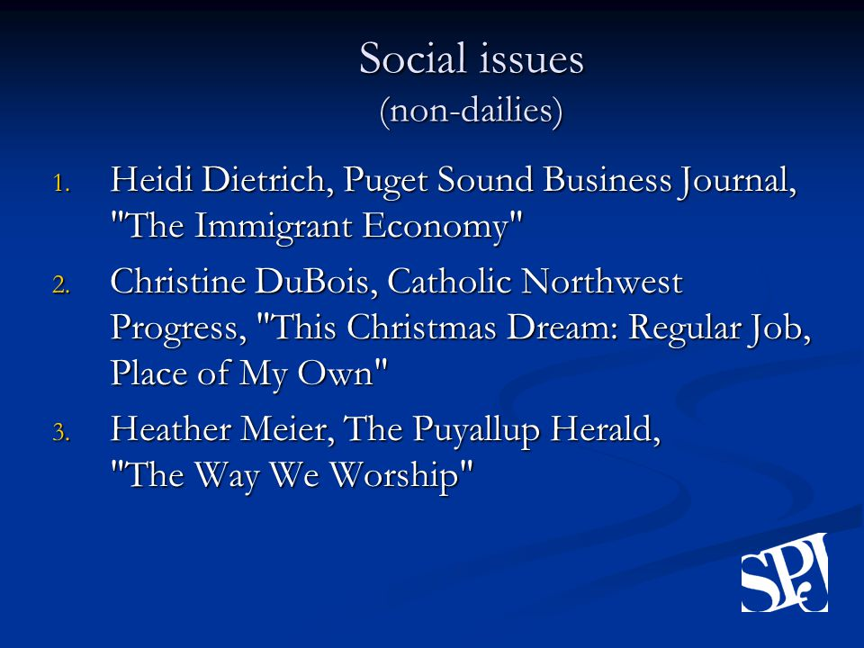 Social issues (non-dailies) 1.