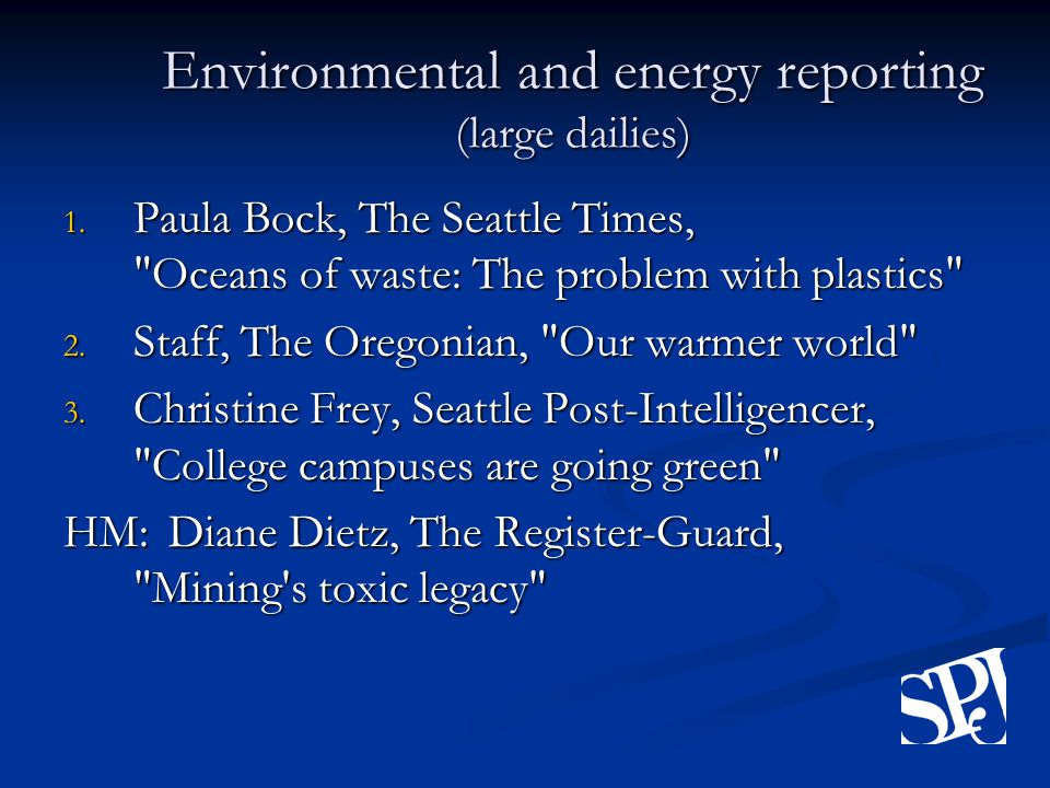 Environmental and energy reporting (large dailies) 1.