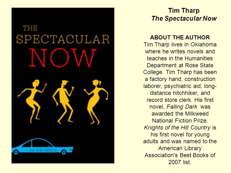 Tim Tharp The Spectacular NOW ABOUT THE BOOK (from the publisher) SUTTER KEELY.