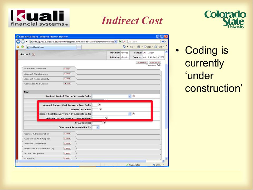 Indirect Cost Coding is currently 'under construction'