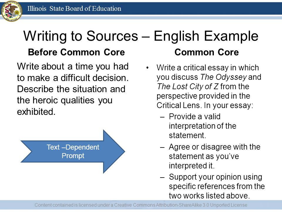 Writing to Sources – Social Studies Example Before Common Core Describe a time when you took action in support of something you strongly believed in.