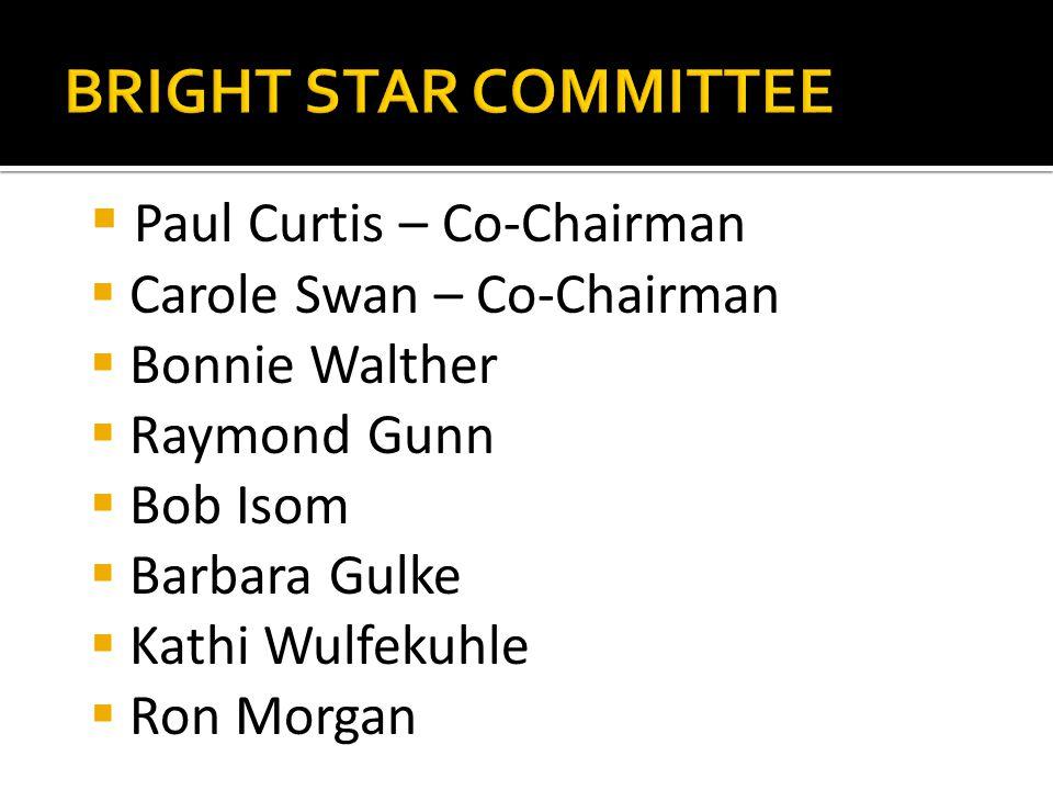  Paul Curtis – Co-Chairman  Carole Swan – Co-Chairman  Bonnie Walther  Raymond Gunn  Bob Isom  Barbara Gulke  Kathi Wulfekuhle  Ron Morgan