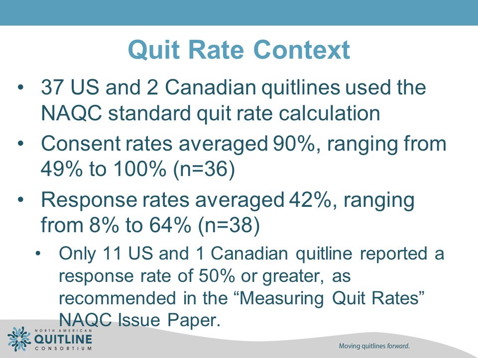 Quit Rate Context 37 US and 2 Canadian quitlines used the NAQC standard quit rate calculation Consent rates averaged 90%, ranging from 49% to 100% (n=