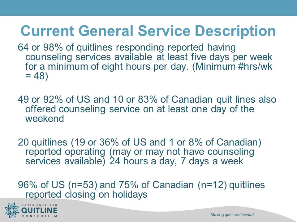 Current General Service Description 64 or 98% of quitlines responding reported having counseling services available at least five days per week for a