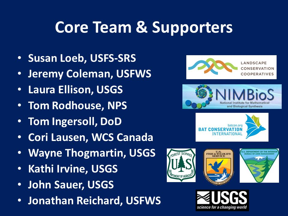 Core Team & Supporters Susan Loeb, USFS-SRS Jeremy Coleman, USFWS Laura Ellison, USGS Tom Rodhouse, NPS Tom Ingersoll, DoD Cori Lausen, WCS Canada Way