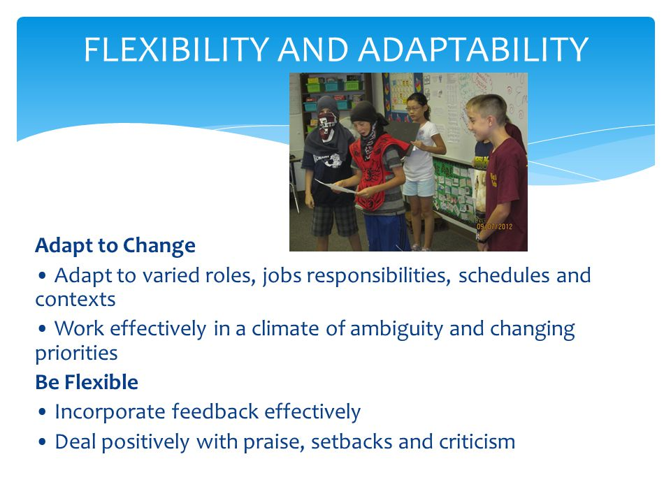 Adapt to Change Adapt to varied roles, jobs responsibilities, schedules and contexts Work effectively in a climate of ambiguity and changing priorities Be Flexible Incorporate feedback effectively Deal positively with praise, setbacks and criticism FLEXIBILITY AND ADAPTABILITY