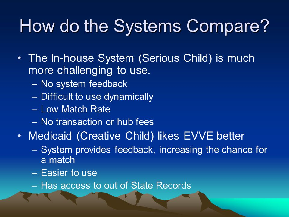 How do the Systems Compare. The In-house System (Serious Child) is much more challenging to use.