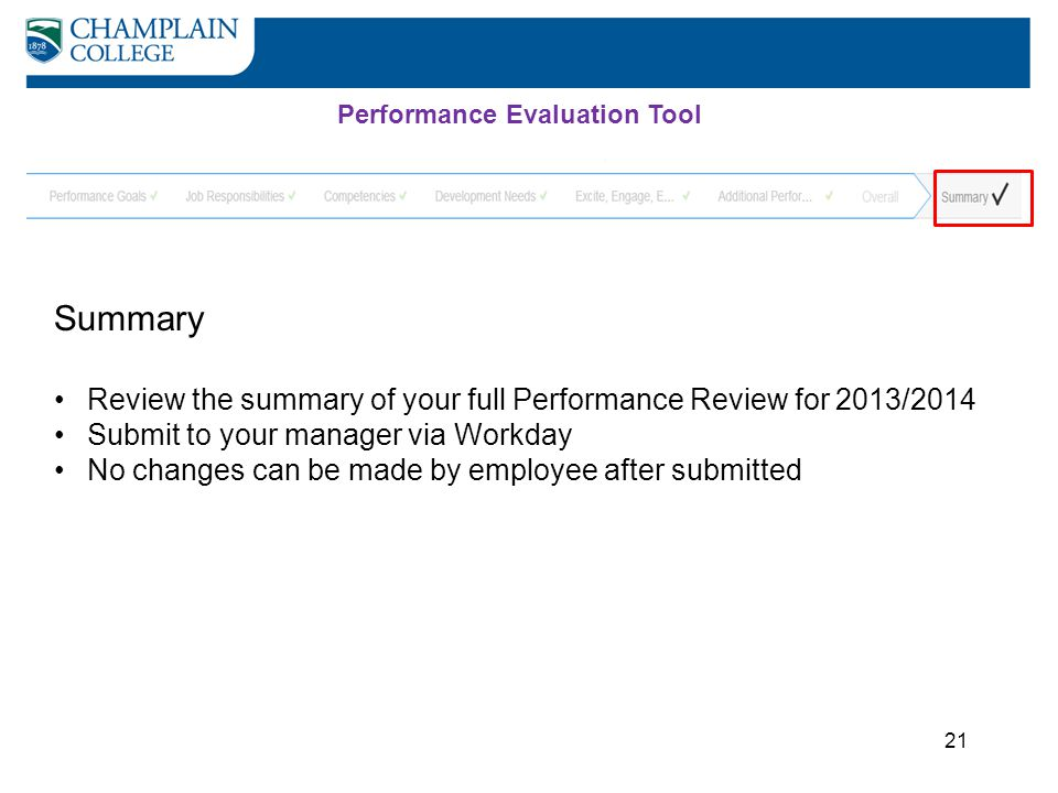 21 Summary Review the summary of your full Performance Review for 2013/2014 Submit to your manager via Workday No changes can be made by employee afte