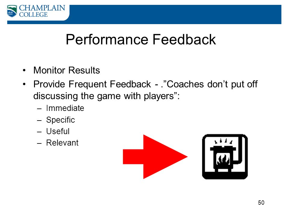 "50 Performance Feedback Monitor Results Provide Frequent Feedback -.""Coaches don't put off discussing the game with players"": –Immediate –Specific –Us"