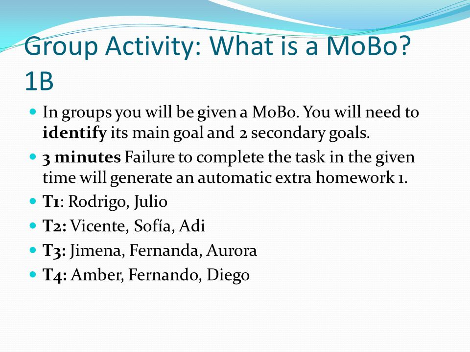 Group Activity: What is a MoBo. 1B In groups you will be given a MoBo.
