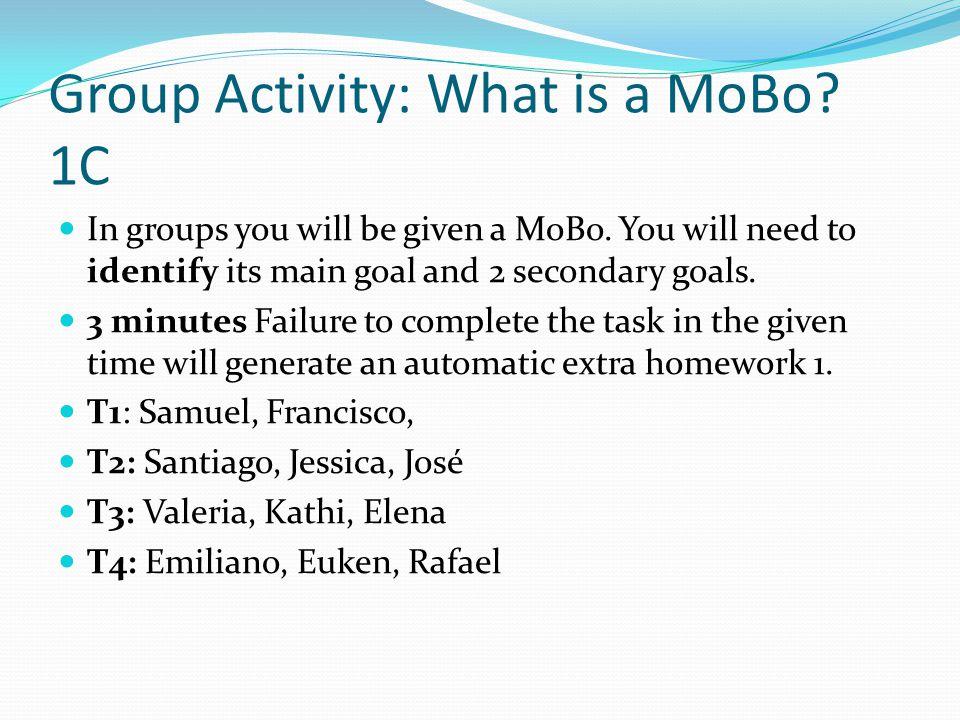 Group Activity: What is a MoBo. 1C In groups you will be given a MoBo.