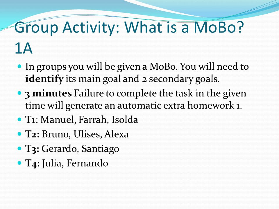 Group Activity: What is a MoBo. 1A In groups you will be given a MoBo.